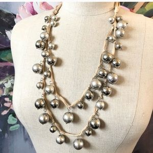 ANN TAYLOR silver bauble bow tie necklace NWT